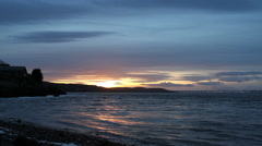 Tay Estuary at Sunset near Dundee Scotland Stock Footage