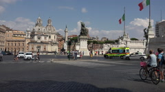 Rome Italy Vittorio Emanuele II road intersection 4K 088 Stock Footage