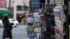 Postcards, rack, Pike Place Market, Seattle, 4K, UHD Stock Footage