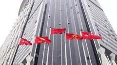 Colorful flags, in Shenzhen, China Stock Footage