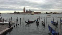 Venice Italy lagoon gondola enter canal 4K 022 Stock Footage