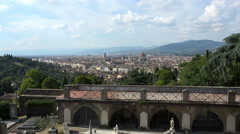 Florence Italy Cathedral and city valley from hill 4K 037 Stock Footage