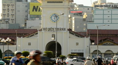 Ben Thanh Market in Downtown Ho Chi Minh City - Vietnam Stock Footage