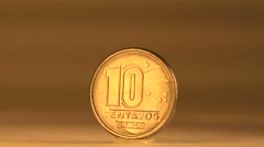 Value the 10 Centavos Brazilian Coin Stock Footage