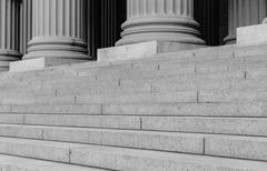 Pillars and steps in black and white Stock Photos