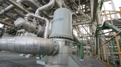 Process area with pipeline in the factory Stock Footage