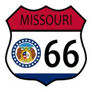 route 66 missouri sign and flag - stock illustration