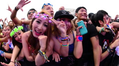 Close up of Crowd at Electronic Music Festival Tokyo Japan - stock footage