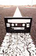 ancient retro musicassette - stock photo