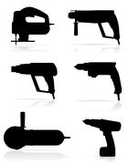 Stock Illustration of electric tools black silhouette set icons vector illustration