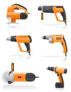 Stock Illustration of electric tools set icons vector illustration