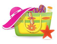 female bag with beach accessories vector illustration - stock illustration