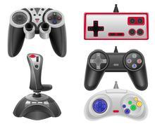 set icons joysticks for gaming consoles vector illustration eps 10 - stock illustration