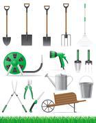 set garden tool vector illustration - stock illustration