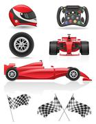 Set racing icons vector illustration eps 10 Piirros