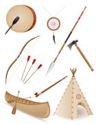 set icons objects american indians vector illustration - stock illustration
