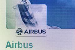 Airbus logo on the screen Stock Photos
