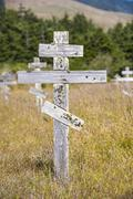 old crosses at the historic orthodox cemetery of fort ross - stock photo