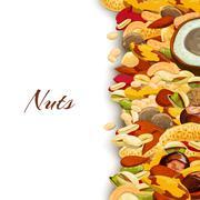 Nuts Mix Background - stock illustration
