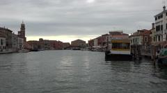 Venice Italy Murano canal Museo boat stop bridge 4K 038 Stock Footage