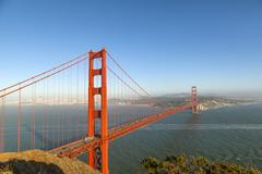 Famous san francisco golden gate bridge in late afternoon light Stock Photos