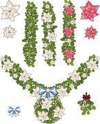 Clip art set of Christmas mistletoe decorative garlands - stock illustration