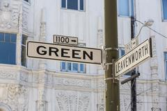 Stock Photo of street sign of famous green street in san francisco