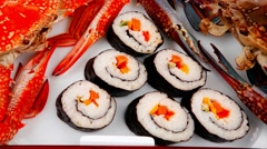 Japanese Traditional Cuisine - Roll with crabs Stock Footage