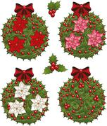 Stock Illustration of Clip art set of Christmas mistletoe decorative glob elements