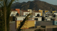 Sunset in Mexican town Stock Footage