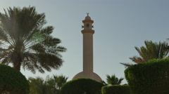 Mosque in desert Park (Middle East), with bird flying past Stock Footage
