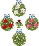 Clip art set of Christmas mistletoe decorative glob elements Stock Illustration