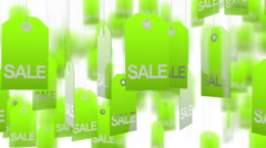 Green sale tags Stock Footage