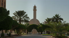 Mosque with sand dunes in background (Middle East) Stock Footage