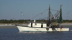 Shrimp boat returns to harbor, jekyll island, ga, usa Stock Footage