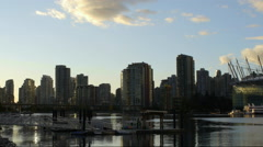 Vancouver City skyline late afternoon Stock Footage