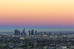 view to downtown los angeles - stock photo