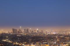 night view to los angeles - stock photo