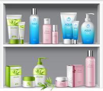 Cosmetics On Shelves - stock illustration
