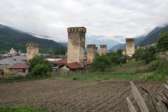 mestia, georgia - stock photo
