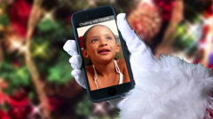 Girl Video Chats with Santa Claus Stock Footage
