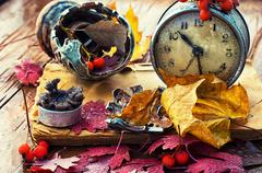 old clock on the background of fallen leaves - stock photo