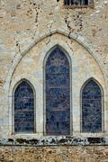 romanesque church window - stock photo