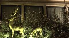4k Golden bucks christmas decoration at Christmas market Stock Footage