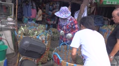 Sort pineapple in Bangkok Thailand Stock Footage