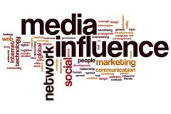 media influence word cloud - stock illustration