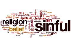 Stock Illustration of sinful word cloud