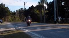 Female riding gsxr1000 near beach Stock Footage