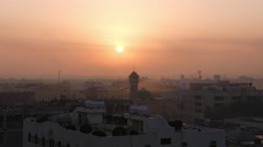 Middle East city, Early Morning, with Mosque Stock Footage