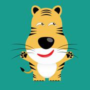 tricky bengal tiger gartoon character - stock illustration